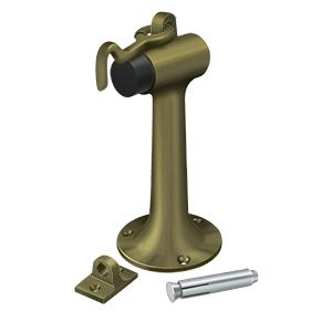 "Floor Mount, 6"" Bumper w/ Hook - Antique Brass"