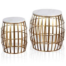 Gold Cage Marble Top Nesting Table Set  19in X 19in X 20in  15in X 15in X 17in  Set of 2 End Tabl