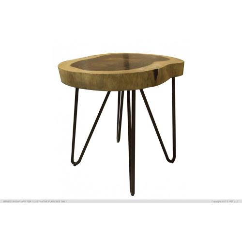 International Furniture Direct - Authentic Live-Edge Chair-side Table