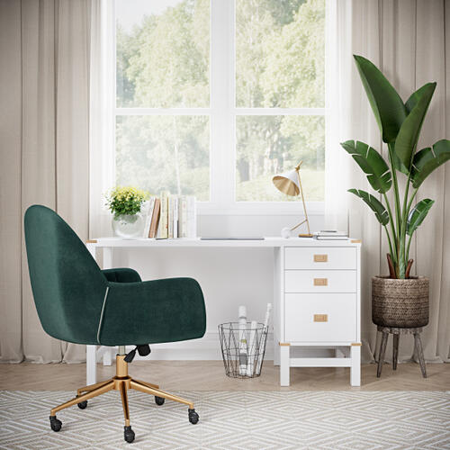Upholstered Channel Tufted Office Chair in Emerald Green Velvet