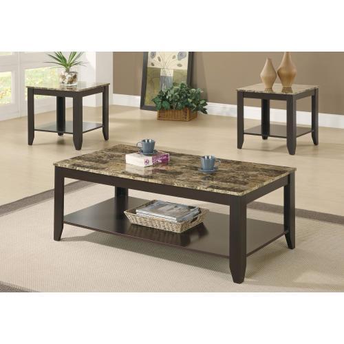 Gallery - TABLE SET - 3PCS SET / ESPRESSO / MARBLE-LOOK TOP