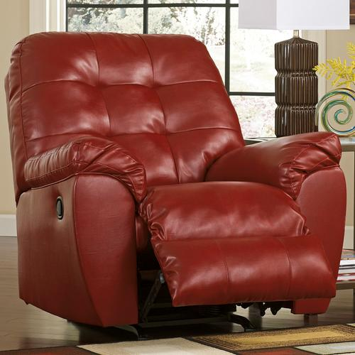 Signature Design by Ashley Alliston Rocker Recliner in Salsa Faux Leather [FSD-2399REC-RED-GG]