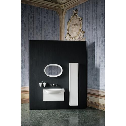 White Matte Tall cabinet, 1 door, right hinged, with 1 wooden shelf and 4 glass shelves