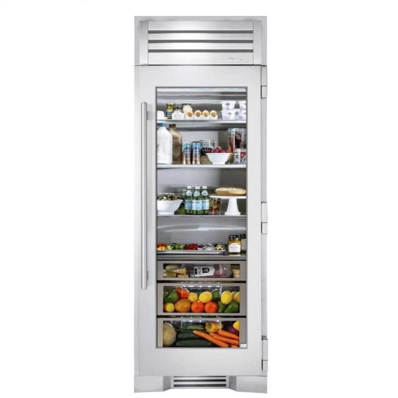 30 Inch Stainless Glass Door Right Hinge Refrigerator Column