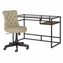 See Details - 48W Glass Top Writing Desk with Mid Back Tufted Office Chair, Rustic Brown Embossed