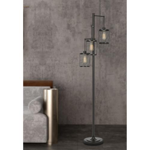 60W x3 Pacific metal floor lamp with metal mesh shades with a pole 3 way rotary switch