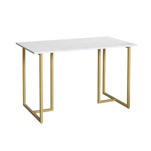 Metal Frame Marble Top Desk in Gold