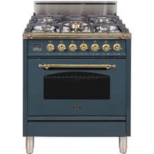 See Details - Nostalgie 30 Inch Gas Liquid Propane Freestanding Range in Blue Grey with Brass Trim
