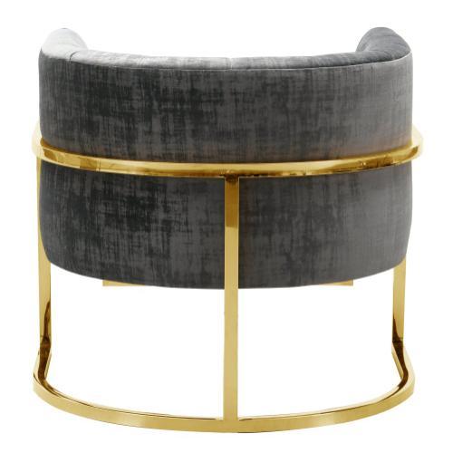 Magnolia Slub Grey Chair with Gold Base