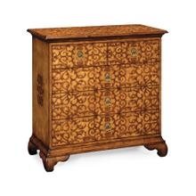 See Details - Walnut raised arabesques chest of drawers