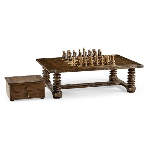 Turned Leg Heavy Distressed Games/Coffee Table
