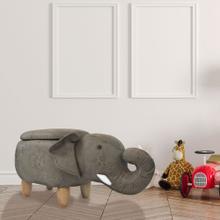 See Details - Critter Sitters 15-In Seat Height Dark Gray Elephant Animal Shape Storage Ottoman Furniture for Nursery, Bedroom, Playroom, Living Room Decor, CSELESTOTT-DKGRY2
