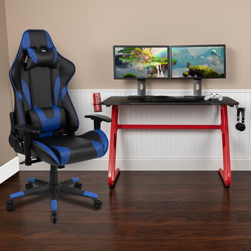 Gallery - Red Gaming Desk and Blue Reclining Gaming Chair Set with Cup Holder and Headphone Hook