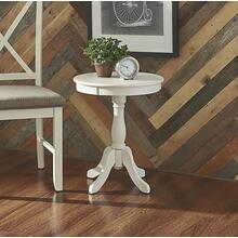 Round Top and Pedestal Base Table, White
