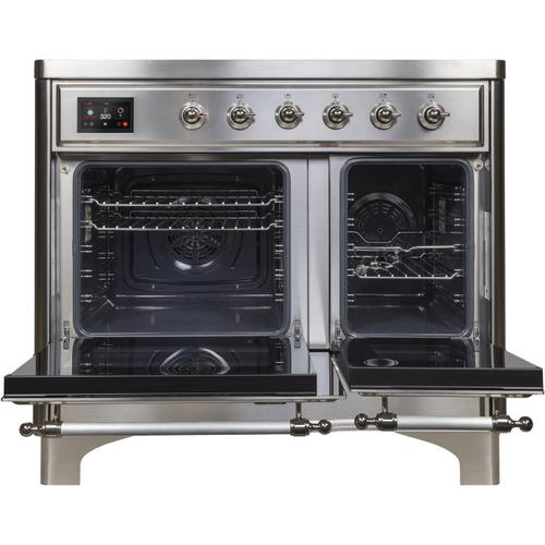Ilve - Majestic II 40 Inch Electric Freestanding Range in Stainless Steel with Chrome Trim