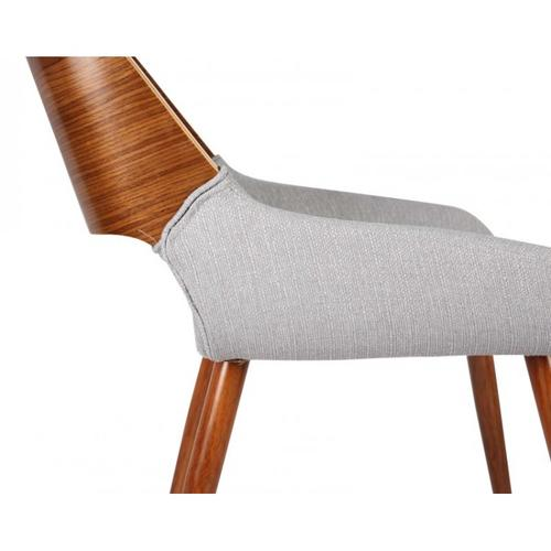 Armen Living Panda Mid-Century Dining Chair Walnut Finish and Gray Fabric
