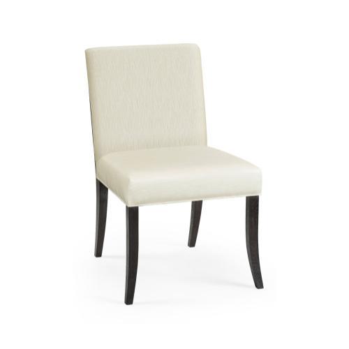 Geometric Black Mocha Oak Dining Side Chair, Upholstered in Castaway
