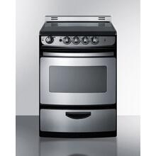 """Product Image - 24"""" Wide Smoothtop Electric Range In Stainless Steel, With Low 'slide-in' Backguard and Storage Drawer"""