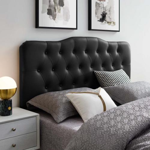 Annabel Queen Upholstered Vinyl Headboard in Black