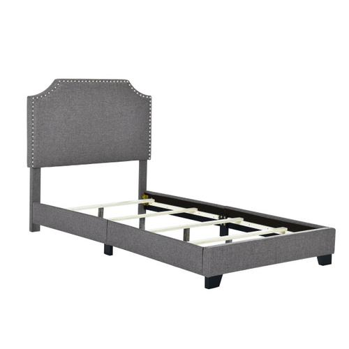 Accentrics Home - Clipped Corner Twin Upholstered Bed in Stone Gray