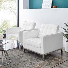 Loft Tufted Upholstered Faux Leather Armchair Set of 2 in Silver White