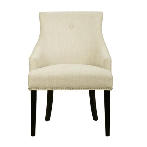 Button Back Dining Chair in Sateen Hemp