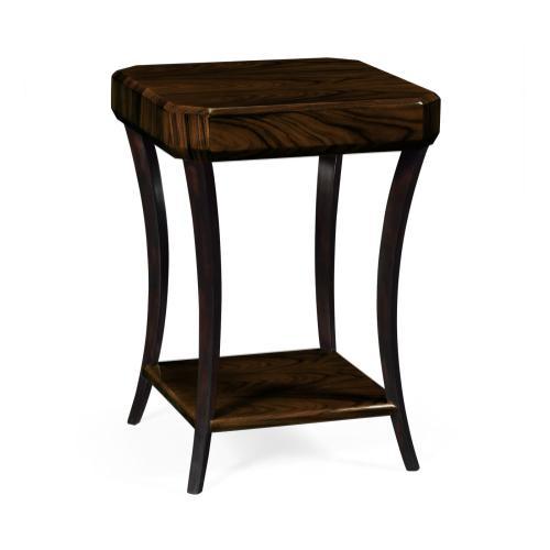 Small Square Art Deco Macassar Ebony High Lustre Side Table