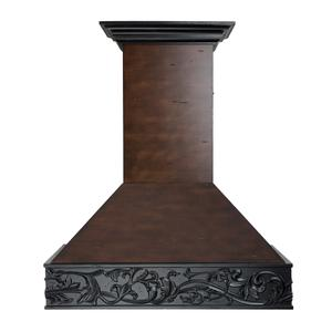 Zline KitchenZLINE Wooden Wall Mount Range Hood in Antigua and Walnut - Includes Dual Remote Motor (373AW-RD) [Size: 30 Inch, CFM: 1200]