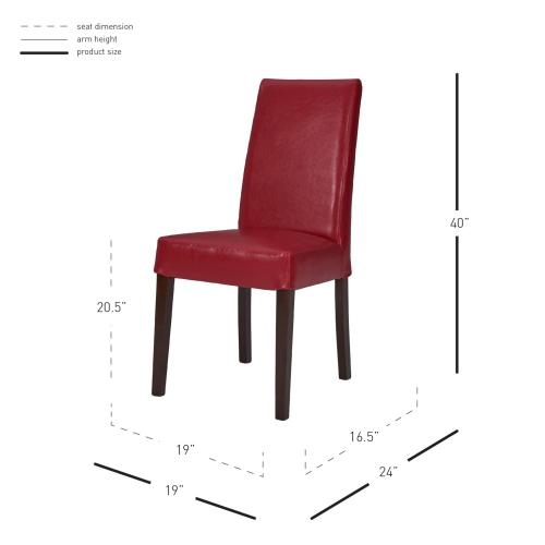 Hartford Leather Dining Side Chair, Red