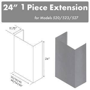 "Zline KitchenZLINE 24"" Chimney for 60"" Under Cabinet Hoods (520/523/527-60-2FTEXT)"