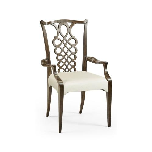 Buckingham Bleached Mahogany Dining Armchair with Ribbon Back, Upholstered in Castaway