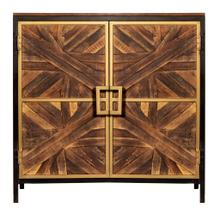 ATHENS CABINET  Reclaimed Walnut Finish on Mango Wood with Black and Gold Finish on Metal Frame  2