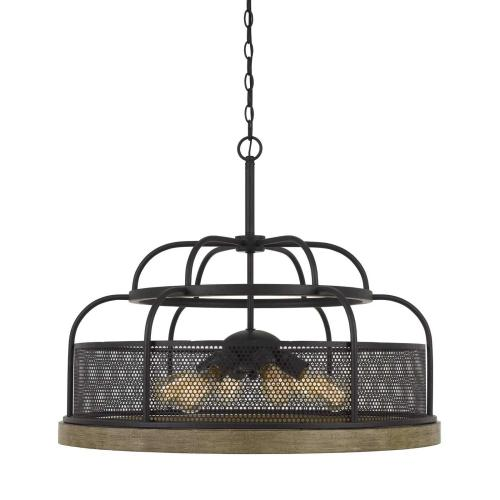 Akaki 60W X 6 Metal/Pine Wood Chandelier (Edison Bulbs Not included)