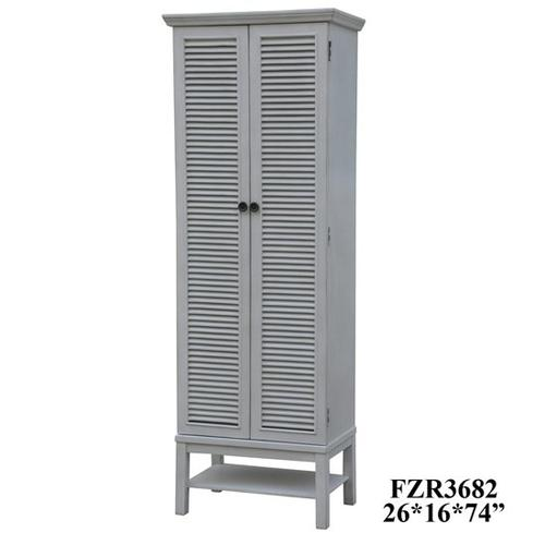 Product Image - Magnolia Louvered 2 Door Tall White Storage Cabinet
