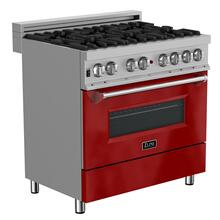 ZLINE 36 in. Professional Dual Fuel Range in DuraSnow® Stainless Steel with Red Gloss Door (RAS-RG-36)