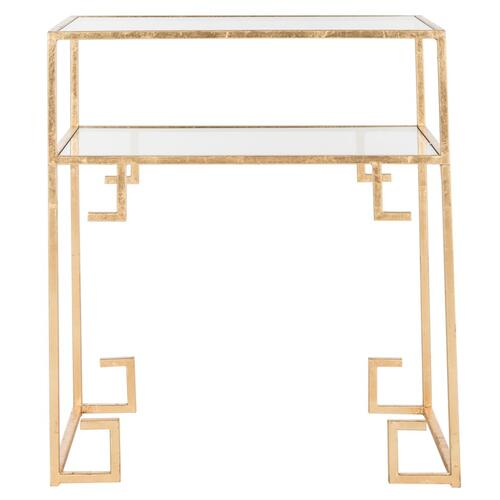 Berdine Glass Top Greek Key Table - Antique Gold