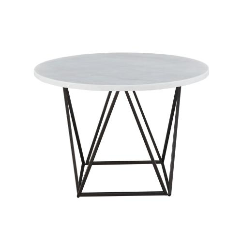 Ramona White Marble Top 44 inch Round Dining Table