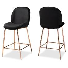 See Details - Baxton Studio Lander Modern Luxe and Glam Black Velvet Fabric Upholstered and Rose Gold Finished Metal 2-Piece Counter Stool Set