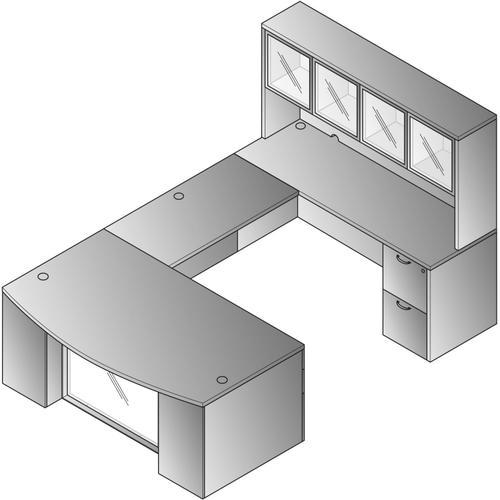 """U-shape 9/ctns W/ Hutch & Glass Modesty Panel 71 X 112"""" Kd"""