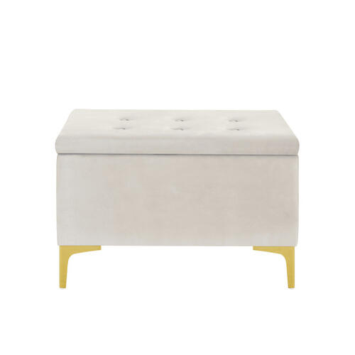 29 Inch Hinged Top Storage Bench w/ Grid-Tufted Seat in Ivory