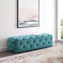 "Amour 60"" Tufted Button Entryway Performance Velvet Bench in Sea Blue"