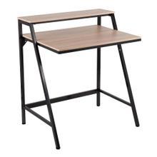 See Details - 2-tier Office Desk - Black Steel, Natural Mdf