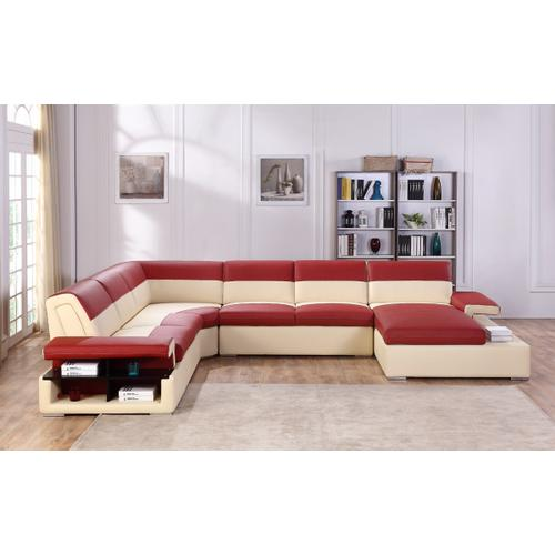 Divani Casa T367 Modern Red & Beige Leather Sectional Sofa