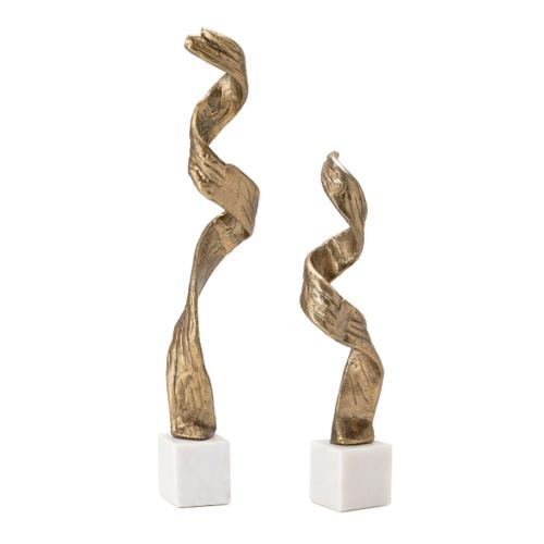 Twist Free Form Sculpture on Marble Base,Set of 2
