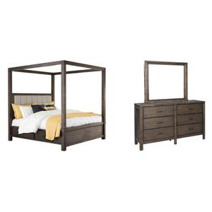 Queen Canopy Bed With 4 Storage Drawers With Mirrored Dresser