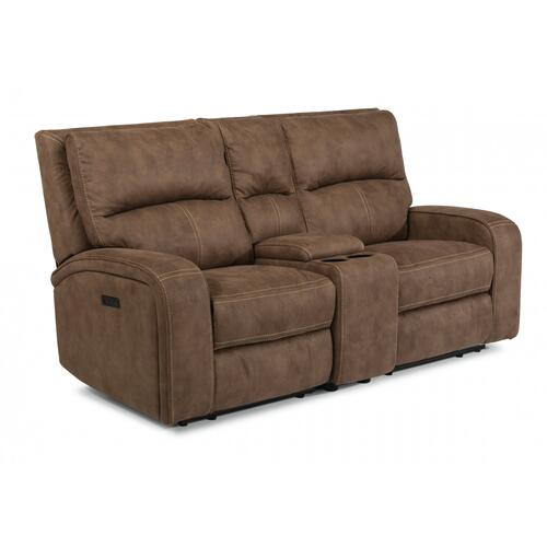 Nirvana Power Reclining Loveseat with Console & Power Headrests