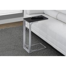 ACCENT TABLE - BLACK TOP / SILVER METAL