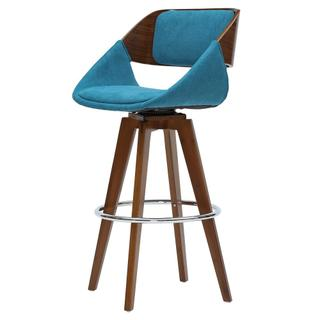 Cyprus KD Fabric Bar Stool, Santorini Teal/Walnut