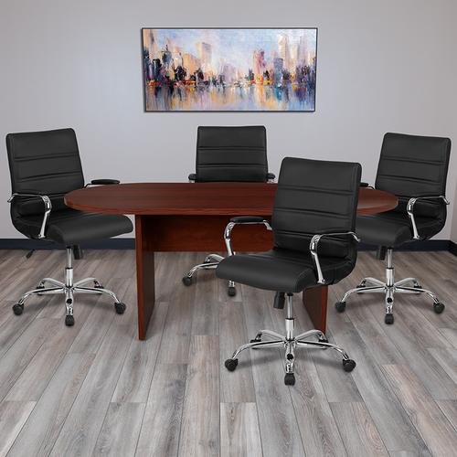 Gallery - 5 Piece Mahogany Oval Conference Table Set with 4 Black and Chrome LeatherSoft Executive Chairs