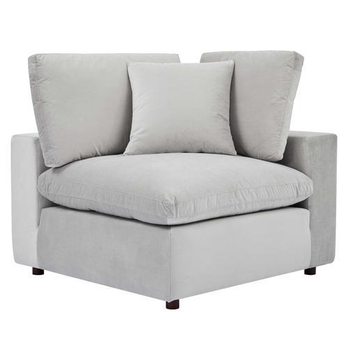 Commix Down Filled Overstuffed Performance Velvet Corner Chair in Light Gray